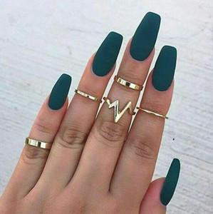 5 pçs / set mulheres cor prata ouro midi acima conjunto de anel de dedo punk boho do vintage anéis da junta banda ouro prata ponta do dedo empilhamento de jóias novo