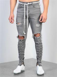 Erkek Grey Yıkama Kalem Jeans Moda Dietrressed Pantolon Erkek Tasarımcı Skinny Jeans ile Fermuar Erkekler Kasetli Pantolon Ripped