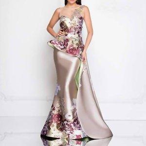Nuevo vestido de noche de las mujeres europeas y americanas banquete temperamento de las mujeres reunión anual impresión 3D vestido bordado