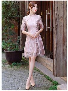 새로운 스타일의 2019 여름 레이스 치파오, 신부의 중국어 토스트 드레스, 매일 여자 기질 개선 레이스 치파오