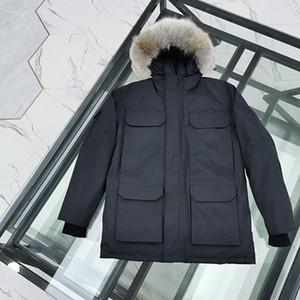 hoolded gerçek kürk kaz palto lüks tasarımcı ceket kadınlar asya boyutu ile En kaliteli Ig Popüler Moda kanada ceket erkekler% 90 aşağı