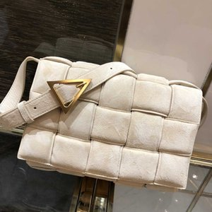 NEW Suede Leather Women Padded Cassette Bag Autumn and Winter New Woven Stereoscopic Plaid Shoulder Bag Female Fashion Handbag Clutch 26cm