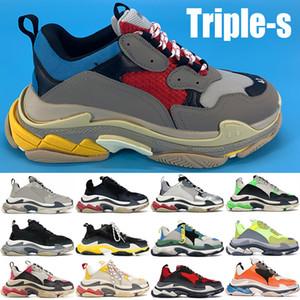 Og pares Triple-s zapatos de plataforma de color gris plateado negro azul rojo Borgoña zapatillas de deporte rosadas de la boda del partido Porm amarillentos del casuales blancos negros triples