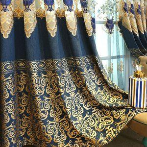 Роскошная вышивка занавес для гостиной Бронзировать жаккардовый занавес для спальни закрученных Голубой вышивки тюля