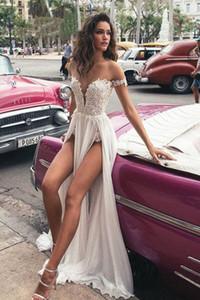 Sexy Style High Split Brautkleider 2020 Sommer-Spitze-Spitze weg Schulter tiefer V-Ausschnitt Chiffon Lange Brautkleider Benutzerdefinierte Größe
