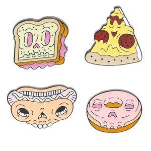 Cara del zombi Fast Food perro Esqueleto pernos dona dona la pizza caliente dona pan tostado y broches del cráneo divertidos Pin insignias de solapa Backpins