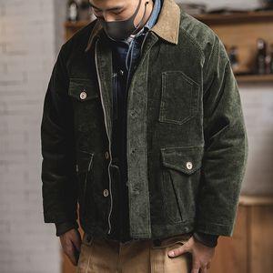 Terno, American Vintage Corduroy Suit Jacket, Outono e Inverno, Ami Khaki Multi-bolso Costura Casaco Homem