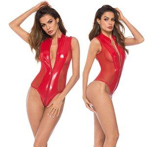 Fetish Onesies in pelle verniciata Sexy Sleepwear da donna Plus Size Mesh con pannelli con bordi di sollevamento Tuta PVC Erotic Valentine Teddies Lingerie