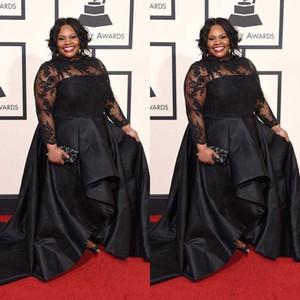 2020 Moderne Noir Taille Plus robe de soirée en dentelle à manches longues col montant femmes sud-africain Parti formel Dresse Tapis rouge Celebrity Robes