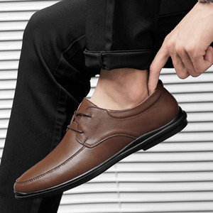 Business Men Shoes moccasins Leather Loafers Comfortable driving shoes male solid black brown formal shoes wholesale