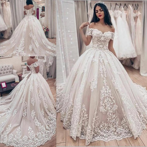 Lavish Lace Wedding Ball Gown Dress with Off-the-shoulder Sleeves Vintage Lace-up Corset Princess Gothic Bride Wedding Gown Plus Size