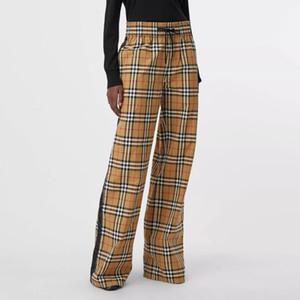 브랜드 패션 여성의 하이 엔드 럭셔리 가을 새 바지 캐주얼 패션 넓은 직선 느슨한 탄성 허리 다리 바지 체크 무늬
