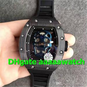KV Hot Sale Wristwatch 052 Mens Watch MIYOTA 6T51 21J Automatic Black PVD Bezel 18K Rose Gold Case Blue Skull Skeleton Dial Rubber Strap
