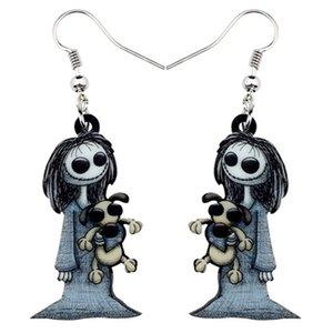 Acrílico escuro Halloween Sorriso Boneca Toy Brincos Dangle Gota Hoops Santo Jewelry For Women Party Girl Trajes encantos de presente