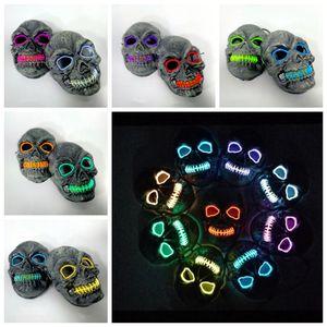 Máscara crânio de incandescência máscara do partido LED traje para Horror tema Máscaras Cosplay EL fio do Dia das Bruxas Halloween Party Supplies RRA2126