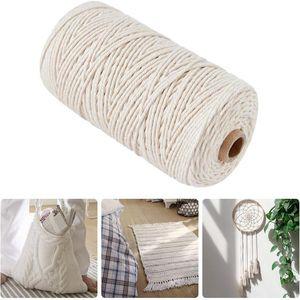 200 m Macrame Natural Beige suave algodón cuerda hecha a mano artesanal cadena decorativa pared colgante Dream Catcher DIY textiles para el hogar