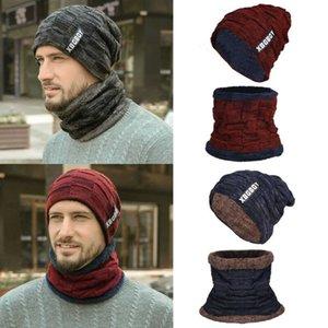 Cap Uomini Set Più caldo di inverno del collo Knit Hat caldo Skull Scarf Beanie Uomo
