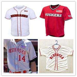 Personalizado 2019 camisola de beisebol da faculdade de Cornhuskers de Nebraska 4 Alex Gordon 2 camisola de Jaxon da cor cinza branco vermelho costurada qualquer nome de NCAA Jersey