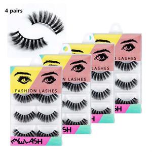 4Pairs / Narin Paket Kalın Siyah Vizon Yanlış Eyelashes Şeffaf Bant Makyaj İpuçları Doğal Dumanlı Handtied Kalın Sahte kutu Göz Lashes