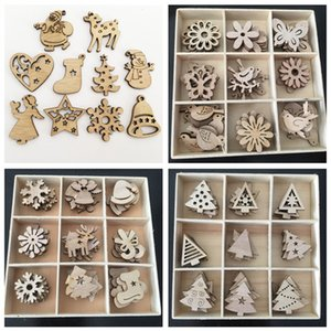 50pcs Wooden 2020 Christmas Decorations Mini Tree Ornaments Santa Claus Snowman Deer Xmas Party Decoration for Home New Year