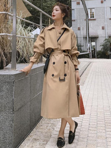 Brand New European Style Double-Breasted Long Trench Coat for Women Cloak with Belt Loose Duster Coat Khaki Lady Outerwear Cloth