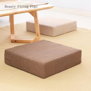 La venta directa colchón futón cuadrado estilo rústico nuevo estilo en la planta de lino tatami mesa de café extraíble y lavable