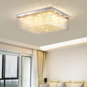 New design modern luxury square L 80cm x W 80cm crystal chandelier lighting led flush mount ceiling lights for living room foyer