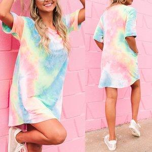 2020 summer new short-sleeved loose gradual discoloration printing casual fresh style short skirt
