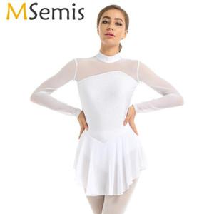 MSemis New femmes Figure Ice Skating Robe brillante strass manches longues Voir au travers de gymnastique Léotard Ballet Danse Costume