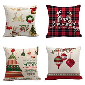 45 * 45CM Home Sofa Throw Pillowcase Mixed Color flax Xmas Pillow Cover Cushion Cover Decor Pillow Case Blank christmas Decor Gift DH0208