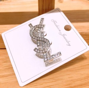 Hot new flash diamond letters free combination brooch net red brooch flower wild English badge pin jewelry