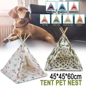 Portable Dog Tent Pet Teepee Foldable Cat Tent Puppy Bed House Contain Super Thick Mats Playpen Room Puppy Exercise Cat Cag