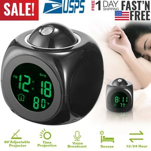 Alarm Clock LED Wall Ceiling Projection LCD Digital Voice Talking Temperature