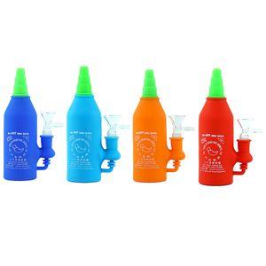Силиконовых Sriracha бутылки воды труба Dab Рог Стекло Бонг Recycler Труба нефтяных вышки трава барботер с стеклянной чашей термостойким Chill бом