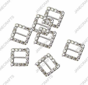 15mm 30pcs Square Rhinestone Buckle Invitation Ribbon Slider For Wedding Supply Silver Color rhinestone bikini connectors