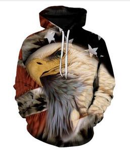 New Fashion Eagle Bandiera Americana 3D Stampato Con Cappuccio Uomo Donna Felpe Con Cappuccio Harajuku Pullover Giacche Qualità del Capello Outwear Tute