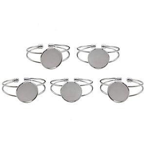 Gioielli 1 pz / lotto Fit 1 pollici rotondo cabochon castone vassoio braccialetti in bianco braccialetti per uomini e donne