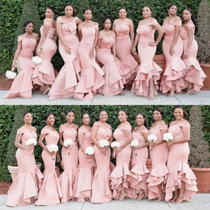 New Longo Blush rosa da sereia da dama de honra Vestidos Off Shoulder Satin Cascading Ruffles Convidado de Casamento Vestido Plus Size madrinha de casamento vestidos