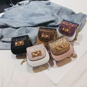 Sacchetti di paillettes bambino Bambini principessa glitter borse moda PU borse a tracolla ragazze All-match borse cross-body bambini borse del progettista C6341