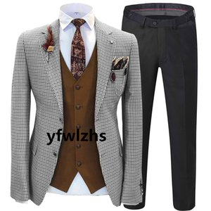 New Style Two Buttons Handsome Notch Lapel Groom Tuxedos Men Suits Wedding Prom Dinner Best Man Blazer(Jacket+Pants+Tie+Vest) W210