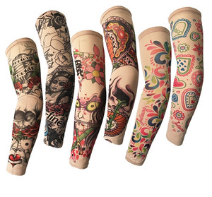 Nightclub Hip-hop Rock Elastic Tattoo Sleeves Riding UV Care Cool Printed Sun-proof Arm Protection Glove Fake Temporary Tattoo for Men Women