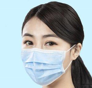 Mouth 3 Layer Masks Blue Non Woven Dustproof Masks Breathe Freely Elastic Adult Mask Ear Loop Safety Masks Pollution