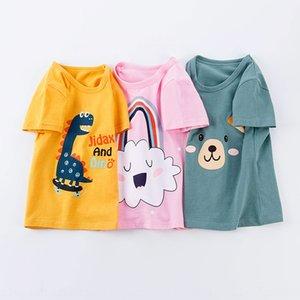 20 summer children's cotton short-sleeved cartoon printed t- round sweat T- sweatshirt collar base shirt sports top generation