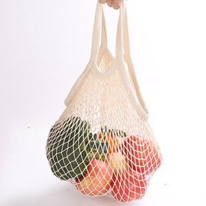 bagguMesh Bolsa de la compra reutilizables lineal de almacenamiento de la fruta bolsa de asas asas de compras de las mujeres malla tejida bolsa de asas de tienda Abarrotes