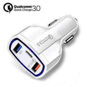 QC3. 0 3 порта автомобильное зарядное устройство Тип C и 2 USB зарядное устройство 35W 7A с Qualcomm Quick Charge 3.0 быстрая зарядка для мобильного телефона GPS Power Bank