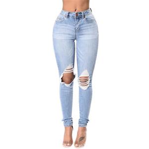 Adatti a donne 2017 Donna Blu Distrutto Pantaloni jeans stretch Femme denim strappato foro Jeans