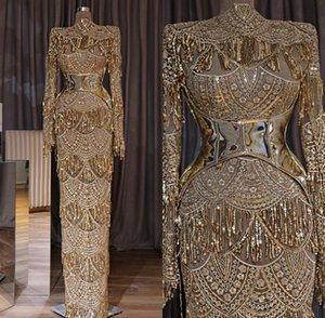 Elegant Gold Mermaid Arabic Вечерние вечерние платья 2019 Ближний Восток Вечерние платья Вечерние Wear Плюс Размер халата де Abendkleider Абая вечер