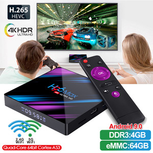 H96 Max Android 9.0 TV Box RK3318 Android TV Box de 2 GB 16 GB caja de la TV 2.4G-5G Wifi Bluetooth4.0 caja superior