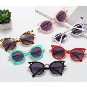 2020 Cat Vintage ojos de los niños gafas de sol Niño Niña colorido Marco redondo Eyewear UV400 linda del niño del bebé de la lente Gradiente Gafas