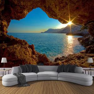 Dropship encargo de la foto del papel pintado de la cueva 3D salida del sol Mar Naturaleza Paisaje grandes murales vida sofá del dormitorio del contexto Decoración Papel